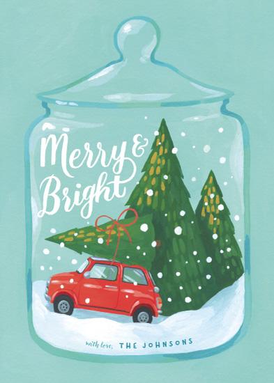 non-photo holiday cards - Festive Terrarium Jar by Four Wet Feet Studio