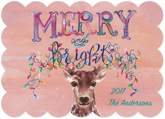 non-photo holiday cards - Merry and Bright Reindeer by Kelly Cline