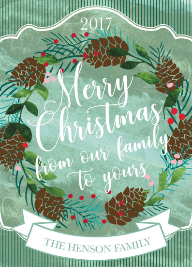 non-photo holiday cards - Vintage Greeting Wreath by Emily Cellini Henson
