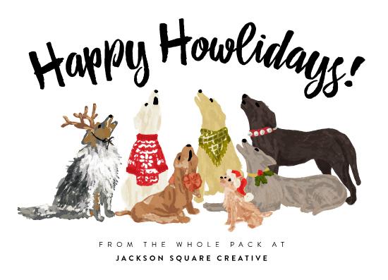 non-photo holiday cards - Howliday Dog Pack by Shiny Penny Studio