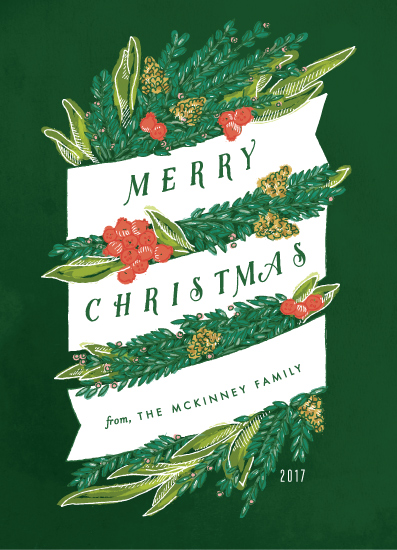 non-photo holiday cards - Sketched Banner and Greenery by Shiny Penny Studio