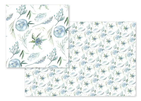 fabric - Periwinkle Flowers & Foliage by Anna Hirsch