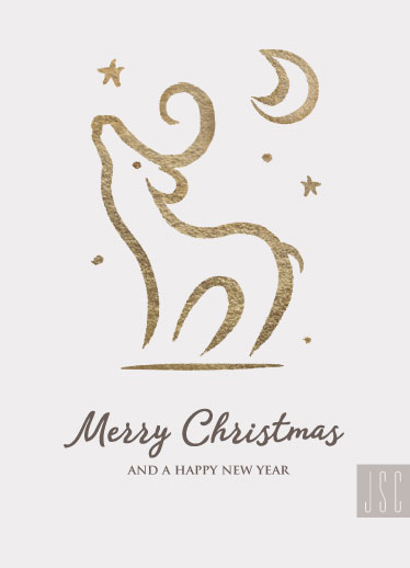non-photo holiday cards - Reindeer Gold by Sylvia Rudert
