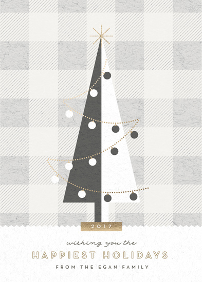 non-photo holiday cards - gingham tree by Carolyn Nicks