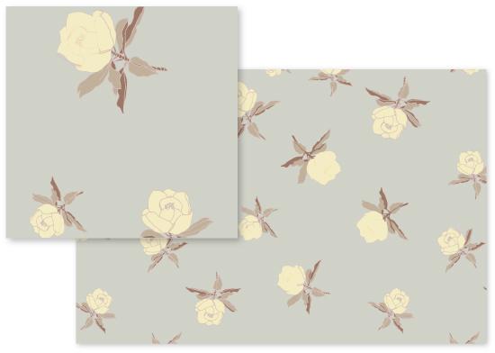 fabric - Pastel Delicate Flowery Print II by Piia Põdersalu