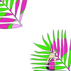 Flamingo Palm Leaf