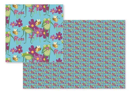 fabric - Frog Garden by Jean Calomeni
