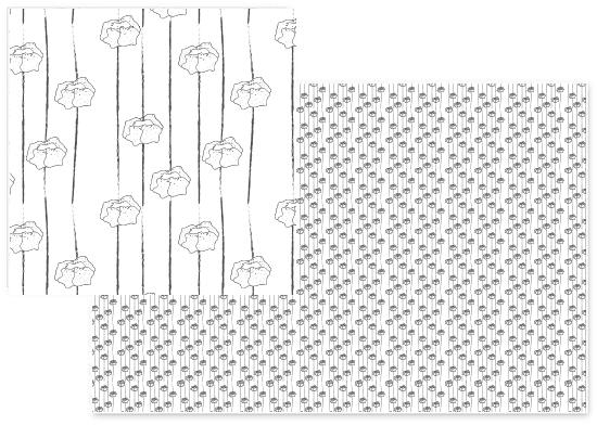 fabric - Black & White Poppy by Karen Kardatzke