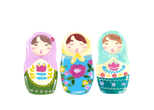 art prints - Singing Matryoshka Dolls by Riley Choi