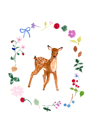 art prints - Deer Wreath by Riley Choi
