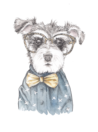 art prints - Snazzy Schnauzer Mixed Media by Lauren Rogoff