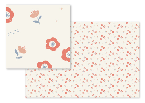 fabric - Japanese flowers by Silvia Rossana Garavaglia