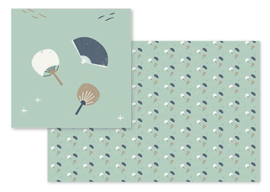 fabric - Japanese fans by Silvia Rossana Garavaglia