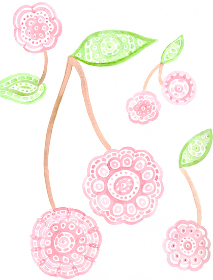 art prints - Mandala Watercolor Cherries by Mary Kate Lucas