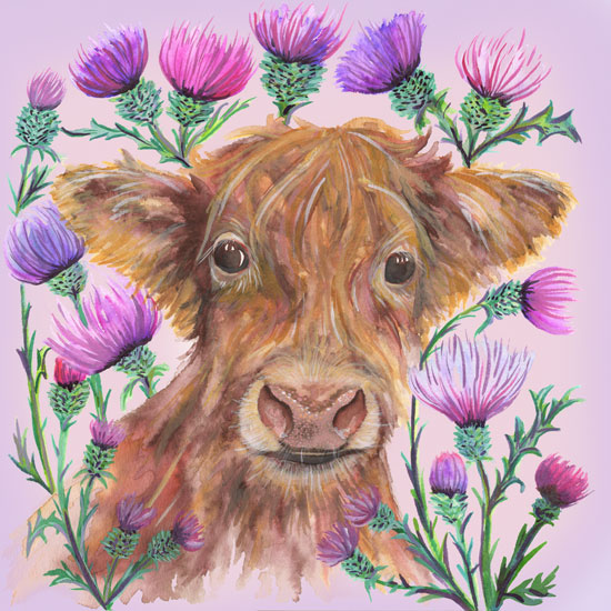 art prints - Highland Cow by Kelly Cline