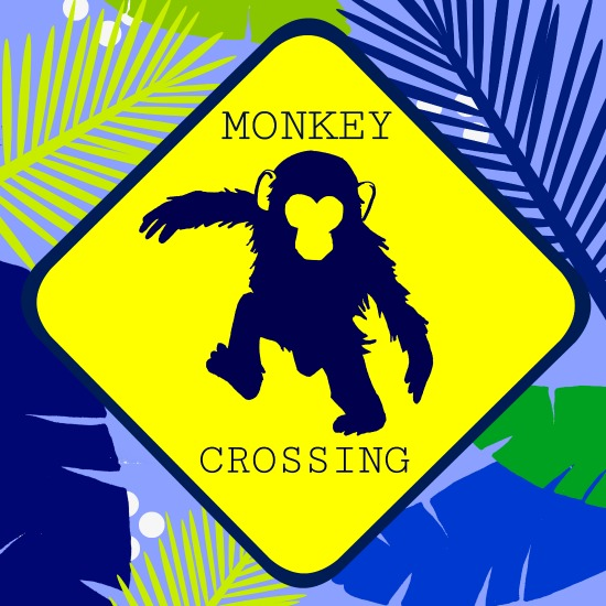 art prints - Monkey Crossing (Blue) by Marla Beyer