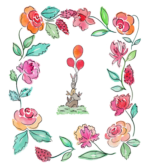 art prints - Rabbits and Flowers by Rachel Rogers