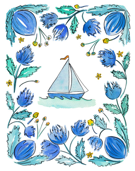 art prints - Sailboat with Flower Border by Rachel Rogers