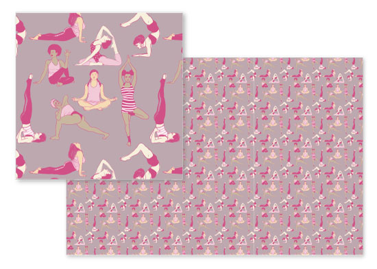 fabric - Yoga Girls by Cecilia Granata
