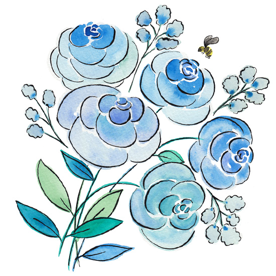art prints - Flowers and bumble bee by Rachel Rogers