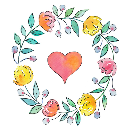 art prints - Watercolor flowers and heart by Rachel Rogers
