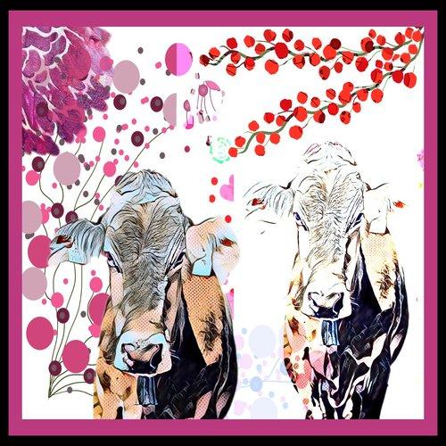 art prints - Double cow by Pascale cerdan