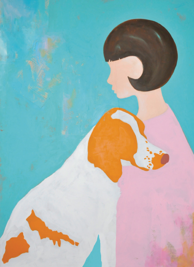 art prints - a girl and her dog by Red Door Design