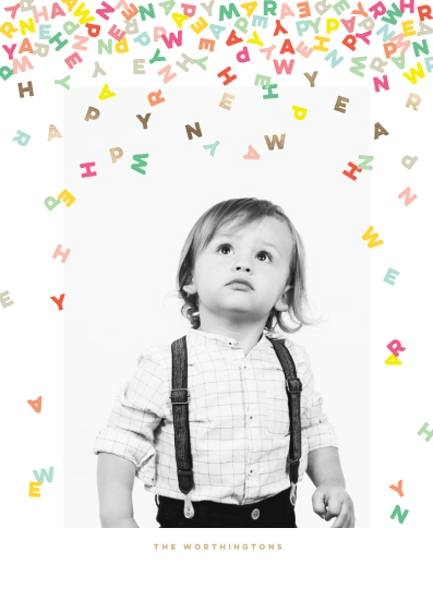 new year's cards - Happy Confetti Letters by fatfatin
