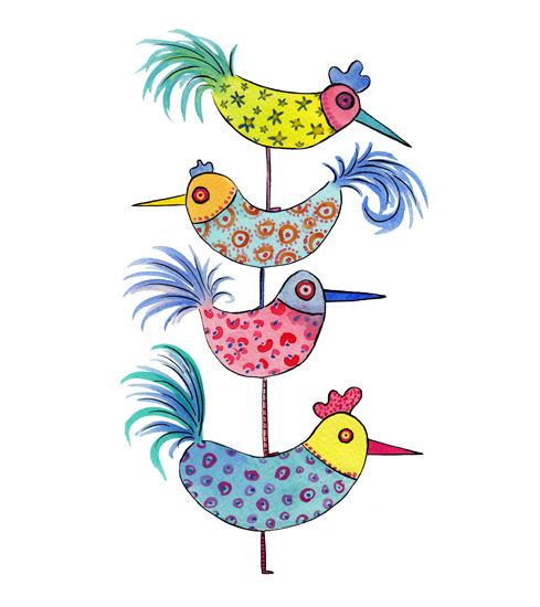 art prints - Birds on Birds on Birds by Rachel Rogers