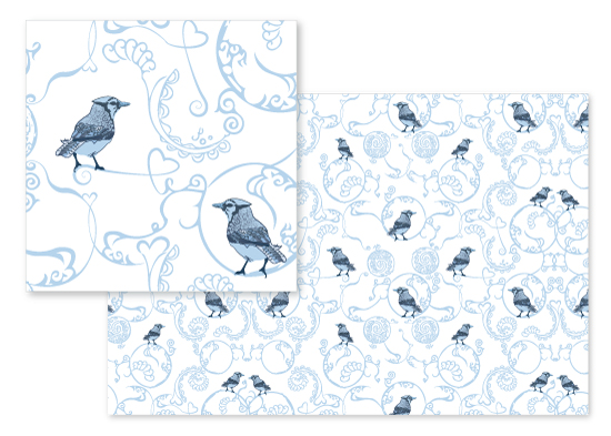 fabric - Wild Blue Jays by Janet Esquirol