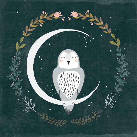 art prints - Moon and Owl by Hannah Williams