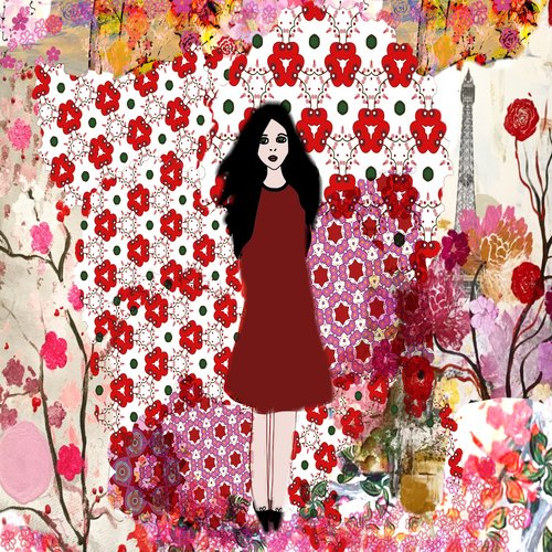 art prints - Red dress girl by Pascale cerdan