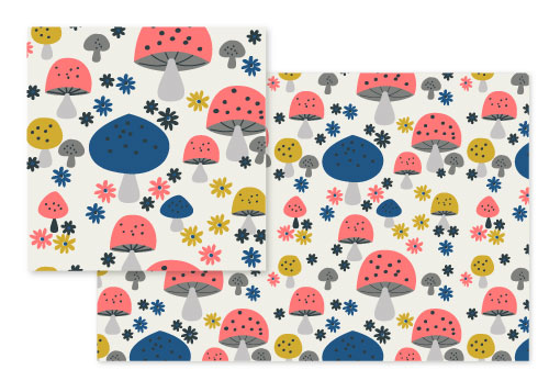 fabric - happy mushrooms by Marina Prints_design studio