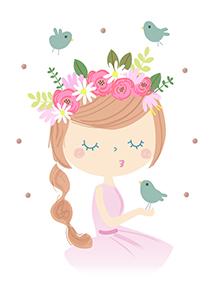 art prints - Folk Girl with flower wreath by Marina Prints_design studio