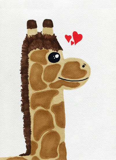 art prints - Baby Giraffe love by Heather Fuller