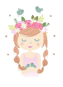 art prints - Folk Girl with flowers wreath by Marina Prints_design studio