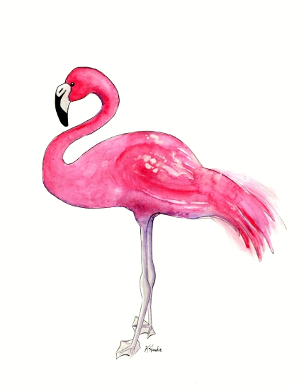art prints - Hot Pink Flamingo by Kristina Heredia