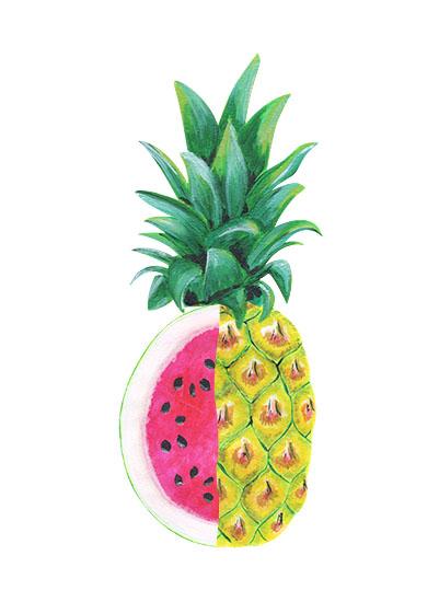 art prints - Watermelon Pineapple by Emily Cellini Henson