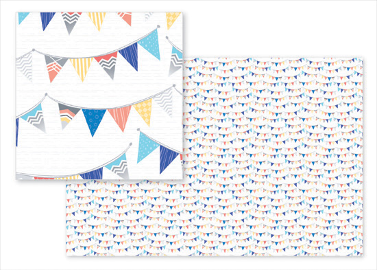 fabric - Nautical Whimsy Pennants by Kay James Designers Guild