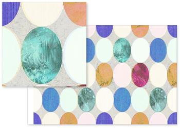 Textured colourful pastel ovals