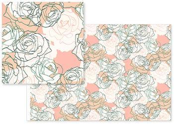 Pastel peach pink line art roses