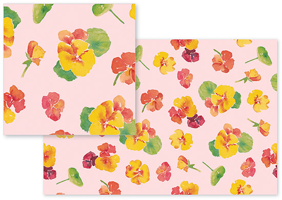 fabric - Pink and Yellow Flowers by Santie Amery