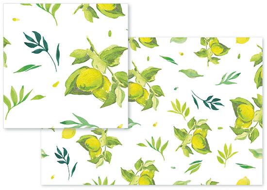 fabric - Lemons and leaves by Santie Amery