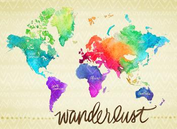 Wanderlust Watercolor World Map