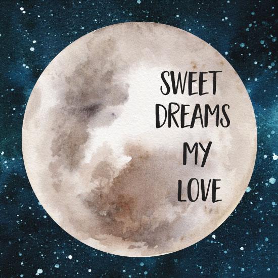 art prints - Sweet Dreams Watercolor Moon by Danielle Huggins
