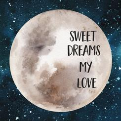 Sweet Dreams Watercolor Moon
