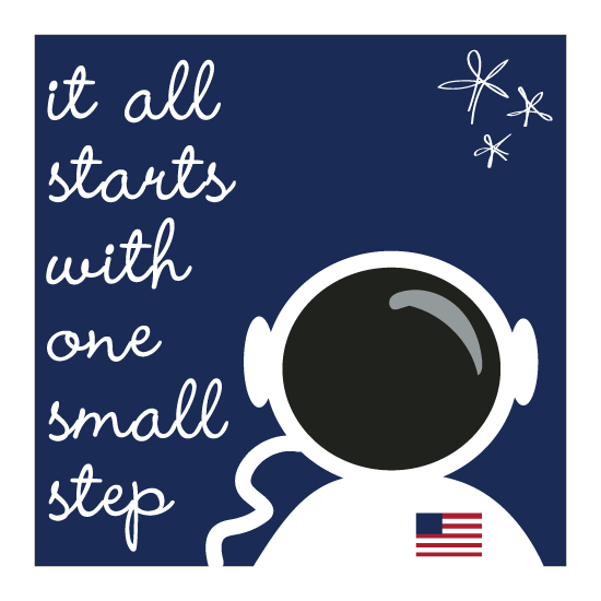 art prints - astronaut steps by Leslie Borchert