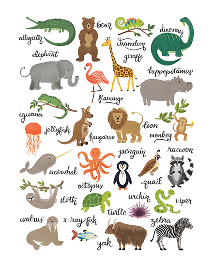 art prints - Animal Alphabet Chart by LoveLight Paper