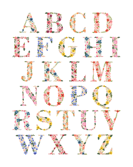 art prints - Bloom Alphabet Print by LoveLight Paper