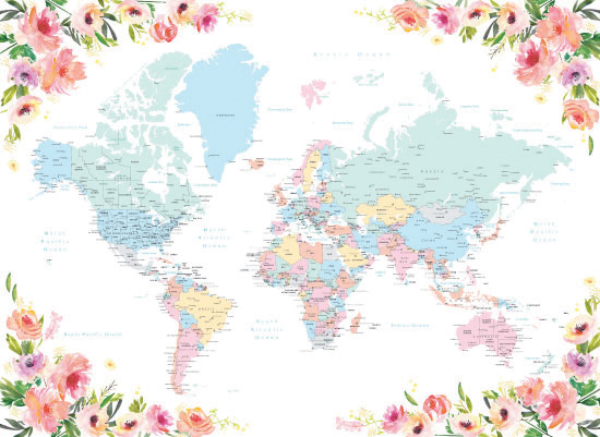 art prints - Floral world map with countries, states and cities by Rosana Laiz · Blursbyai